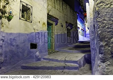 Night View In Medina Of Chefchaouen, Morocco. The City Is Noted For Its Buildings In Shades Of Blue