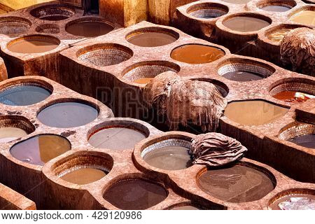 Old Tannery In Fez, Morocco. The Tanning Industry In The City Is Considered One Of The Main Tourist