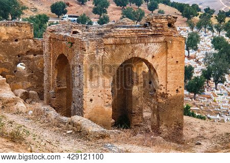View Of The Marinid Tombs Ruins.  It Ruined Tombs On A Hill Above And North Of Fes Al-bali, The Old