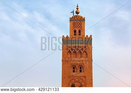 Koutoubia Mosque In The Medina Quarter Of Marrakesh, Morocco. It Is Largest Mosque In Town And Locat