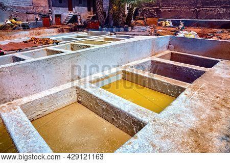 Old Vats With A Dye In The Marrakesh Tannery. Morocco.