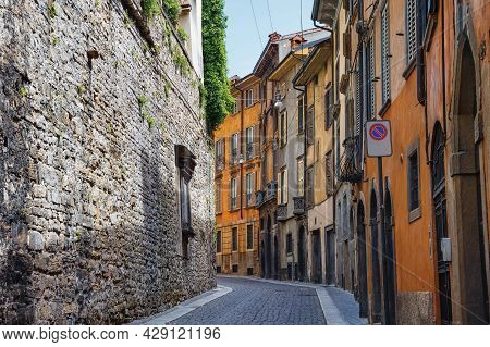View Of The Old Historic Streets In Upper Bergamo (citta Alta). Bergamo Is A City In The Alpine Lomb
