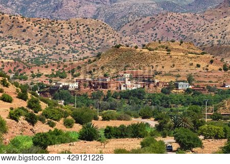 Village In The Desert Landscapes Of Mountainous Morocco On A Sunny Day.