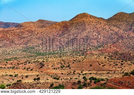 Beautiful Desert Landscapes Of Mountainous Morocco On A Sunny Day.