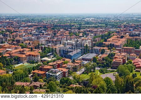 Aerial View Of The Old Town Bergamo In Northern Italy. Bergamo Is A City In The Lombardy Region.
