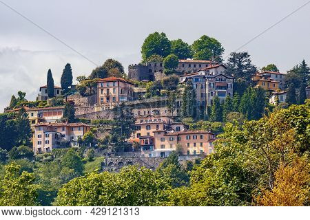 View Of The Historical Buildings In The Old Town Of Bergamo In Northern Italy. Bergamo Is A City In
