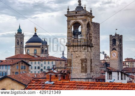 Aerial View Of The Old Historical Buildings In Upper Bergamo (citta Alta). Italy.