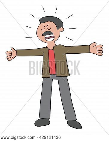 Cartoon Mustache Dad Man Is Angry And Shouting Vector Illustration. Colored And Black Outlines.