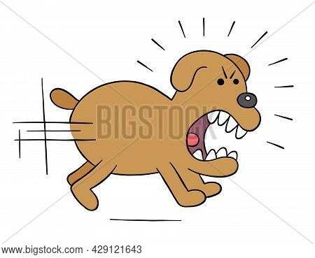 Cartoon Angry Dog Chasing, Vector Illustration. Colored And Black Outlines.