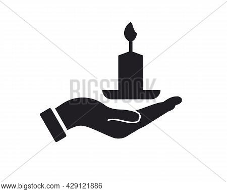 Hand Candle Logo Design. Candle Logo With Hand Concept Vector. Hand And Candle Logo Design