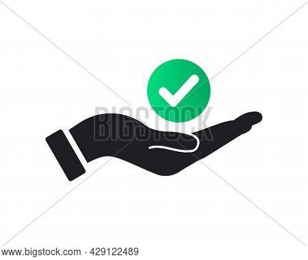 Hand Check Mark Logo Design. Tik Mark Logo With Hand Concept Vector. Hand And Check Mark Logo Design