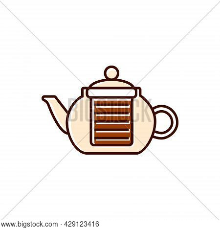 Coffee And Tea Glass Kettler Flat Icon. Teapot, Brewer. Coffee Shop Professional Tool. Color Filled