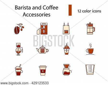 Coffee Shop Accessories Flat Icons Set. Coffee Beans. Professional Machine For Coffee Shop. Coffee M