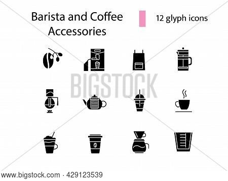 Coffee Shop Accessories Glyph Icons Set. Coffee Beans. Professional Machine For Coffee Shop. Apron A