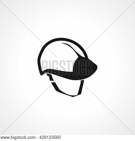 Safety Helmet, Hard Hat Icon. Builder Hat Tool Simple Isolated Black Vector Icon.