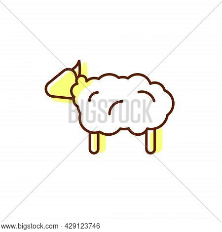 Sheep Flat Icon. Wool Fabric Feature. Textile Industry. Material Quality. Fiber Type. Color Symbol.