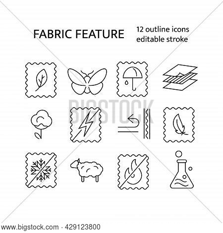 Material Quality Outline Icons Set. Textile Industry. Fabric Feature. Easy Care, Moth Protection. Cu