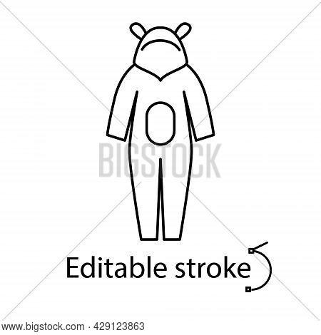 Kids Overalls Outline Icon. Homewear And Sleepwear. Customizable Linear Contour Symbol. Editable Str