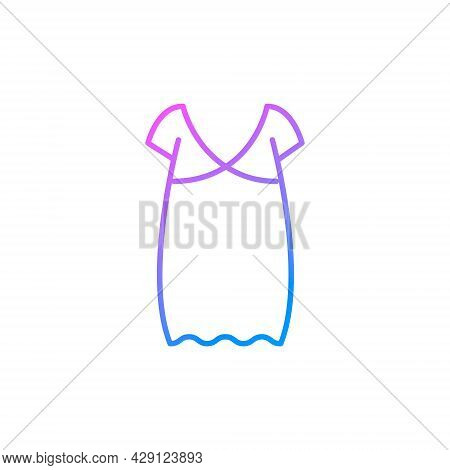 Oversized Home Dress Outline Icon. Woman Gown. Homewear And Sleepwear. Purple Gradient Symbol. Isola