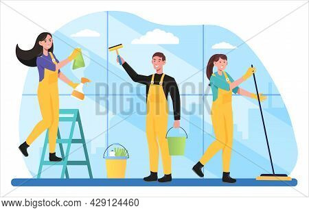 Janitors Team Cleaning Service Composition In Uniform Work Together With Professional Equipment Wash