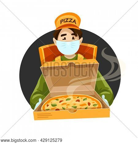 Pizza delivery courier medical mask. Box Cartoon character pizzeria order. Deliveryman carrying box fast food isolated. Fastfood couriers service. Safe deliveries during covid 19. 3D illustration.