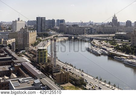 Moscow, Russia - June 25, 2021: Aerial Roof View On Moscow Historical Center From Viewpoint. View Fr