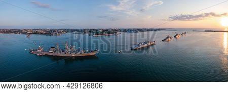 Russian Fleet Parade In Sevastopol Bay At Navy Day, Aerial View