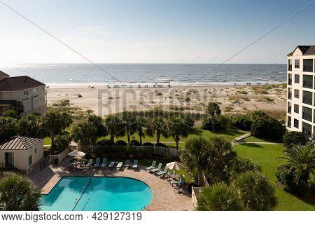 Wild Dunes Resort, South Carolina, Usa - August 19, 2017. Luxury Ocean View Of Luxury Condos At Sunr