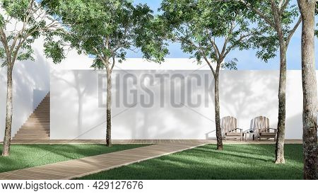 Minimal Style Garden With Wooden Walk Way 3d Render There Is A Blank White Wall. Green Lawn, Big Tre