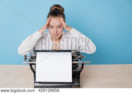 The Author At The Typewriter, A Young Woman Writer