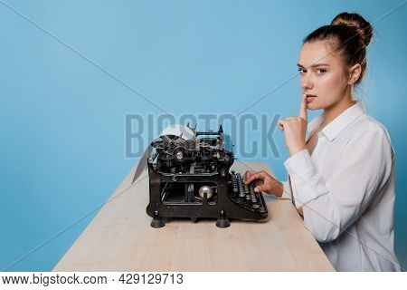 The Author At The Typewriter, A Young Female Writer
