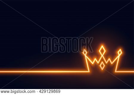 Neon Crown Background In Line Style Design Vector Illustration