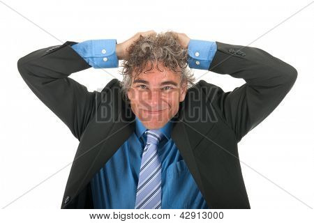 portrait handsome adult man with curly hair and formal suit with lots of stress