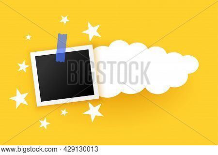 Photo Frames With Clouds And Stars Design Vector Illustration