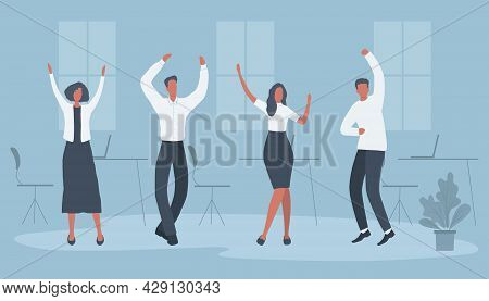 Office Workers Are Celebrating The Victory. Happy Employees Are Dancing. Business People In The Blue