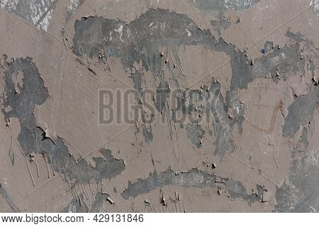 Old Zinc Plated Steel Sheet With Peeled Off Old Shredded Paint Layer - Full Frame Background And Tex