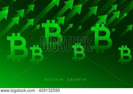 Bitcoin Growth Graph With Upward Green Arrows Design Vector Illustration