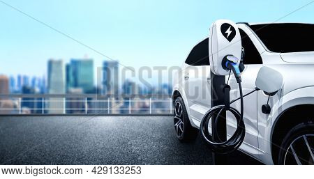 Ev Charging Station For Electric Car In Concept Of Green Energy And Eco Travel . The Electric Power