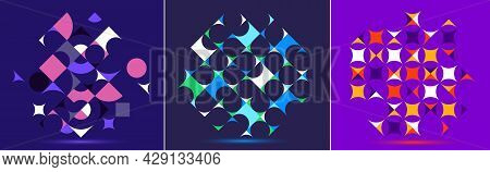 Abstract Geometric Backgrounds Set, Vector Design Elements In Retro Style Of 70S, Modern Complex Com