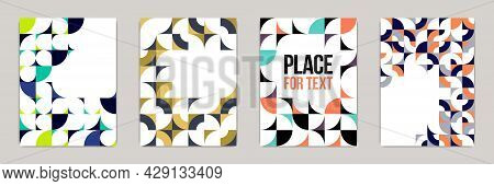 Geometric Design Covers Vector Set, Colorful Modular Constructor Design Backgrounds, Flyer Templates