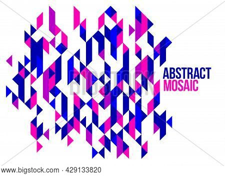 Abstract Bright Blue And Red Mosaic Vector Background, Artistic Design Element Trendy Modern Style G