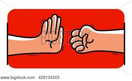 One Hand Stops Another With Aggressive Clenched Fist Stop Violence Concept, Vector Flat Style Cartoo