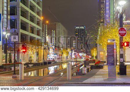 Houston, Tx, Usa - Dec. 14, 2018: Houston Downtown Night Scene On Main Street At Mckinney Street Wit