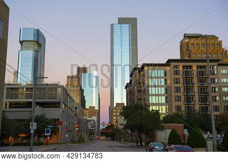 Houston Modern City Skyline At Sunrise Including Marriott Marquis Houston In Downtown Houston, Texas