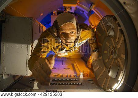 Houston, Tx, Usa - Dec. 15, 2018: Astronaut Figure In Skylab Training Displayed In Johnson Space Cen