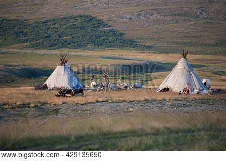 Camp Of Modern Reindeer Herders In The Yamal Tundra. Russia