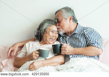 Senior Couple Happy Love Elderly Couple Smile Face, Old Man And Senior Woman Relaxing In Bed Room Dr