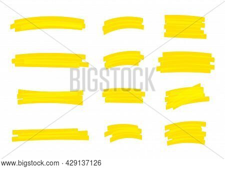 Highlight Stripes Yellow Color, Banners Drawn With Markers, Yellow Highlight Stripe Marker Stroke, H