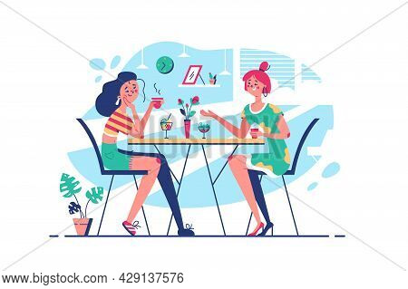 Best Friends Communicating Drinking Coffee Vector Illustration. Girls Chatting About Life In Cafe Fl
