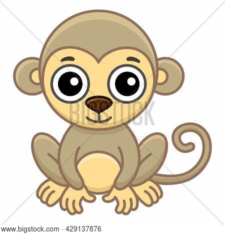 Coloring Animal For Children Coloring Book. Funny Monkey In A Cartoon Style. Trace The Dots And Colo